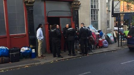Enforcement officers outside the Harringay Arms on October 17 Picture: Luke Cawley-Harrison
