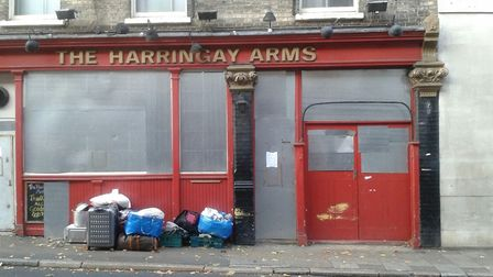 The squatters possessions outside the Harringay Arms Picture: Cameron Charters