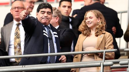 Diego Maradona during the Premier League match at the Wembley Stadium between Tottenham Hotspur and