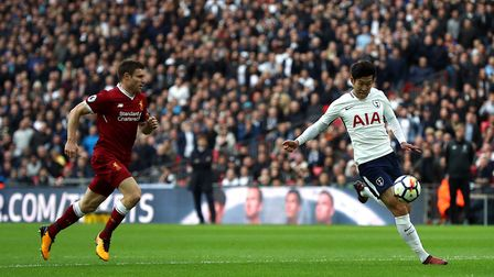 Tottenham Hotspur's Son Heung-Min (right) scores his side's second goal of the game during the Premi