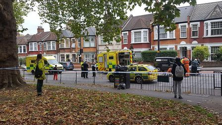 Police in Lea Bridge Road on Monday afternoon, seen from Millfields Park. Picture: @ShulemStern/Twit