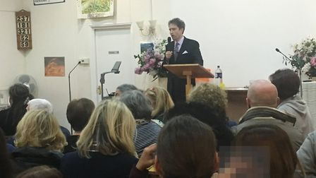 """""""Mosque-buster"""" Gavin Boby speaks at a meeting about the Hippodrome Islamic Centre mosque plan"""