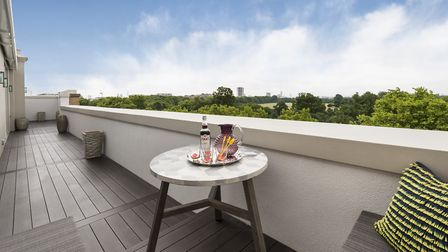 The private terrace overlooking Hyde Park