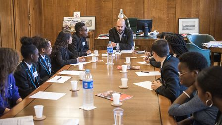 Hackney Mayor Phil Glanville is quizzed by young people for democracy week. Picture: Hackney Council