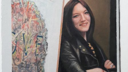 Hugh Mendes' oil painting: 'Obituary: Francesca Lowe', which is on sale in the auction.