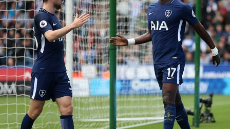 Tottenham Hotspur's Moussa Sissoko (right) celebrates scoring his side's fourth goal of the game wit