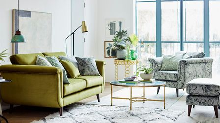 Topaz sofa, £1,598 and pattern standard chair, £1,098 and pattern rectangular footstool, £698