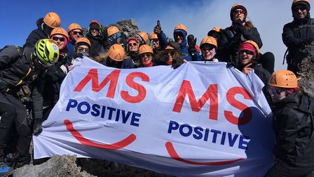 Toni Krok and her family and friends completed their Mount Etna challenge Picture: MS Positive