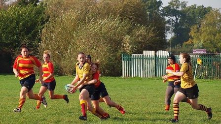 Hampstead women's second-team (gold) in action against their Stockwood Park (pic: Hampstead RFC).