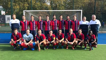Hampstead & Westminster men's first-team face the camera (pic: Hampstead & Westminster HC).