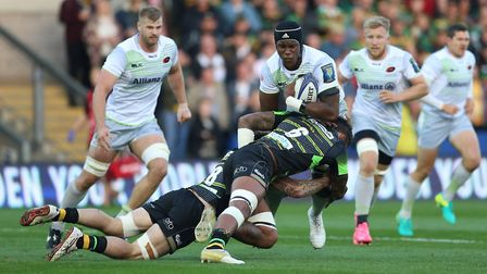 Maro Itoje carries the ball forward for Saracens against Northampton Saints (pic: Nigel French/PA)