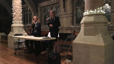 DCS Catherine Roper (far left standing) and Claire-Louise Leyland address the audience Picture: Nath