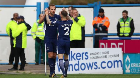 Tottenham Hotspur's Harry Kane celebrates scoring his side's first goal of the game during the Premi