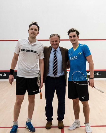 James Wilstrop, Nick Dart and Paul Coll at the opening of the new Cumberland squash courts