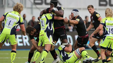 Saracens' Maro Itoje is tackled by Sale Sharks' Marc Jones (pic: Mark Kerton/PA)