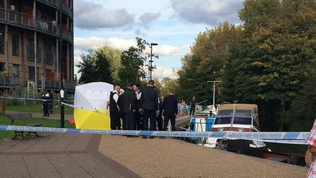 Police at the scene in Riverside Close. Picture: @999London