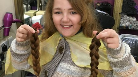 Shelby-Brooke Moore, 9, has donated two plaits of her hair to the Little Princess Trust. Picture: Sa
