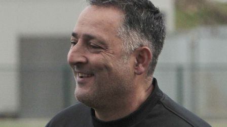 Tony Loizou shows his delight during Haringey Borough's FA Cup game with Bideford (pic: Tony Gay).