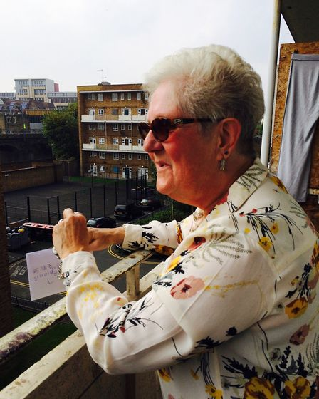 Brenda Christy on the balcony of her flat in Marian Court where she has lived for 54 years. Picture: