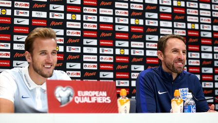 England's Harry Kane (left) and manager Gareth Southgate (pic Steve Paston/PA)