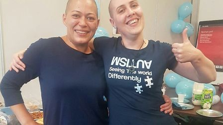 Jackie Myers (left) and Ana Carreira have their heads shaved to raise awareness of autism. Picture:
