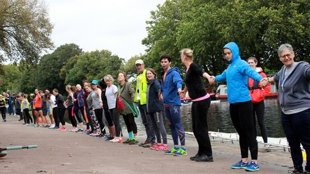 "About 120 boaters, cyclists, rowers and anglers formed a human chain to ""reclaim the towpath"" after"