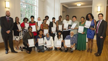The award nominees with Cllr Jonathan McShane and Mayor Philip Glanville. Picture: Hackney Council