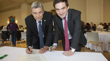 Cllr Jonathan McShane and UNISON General Secretary Dave Prentis sign the ethical care charter at Hac