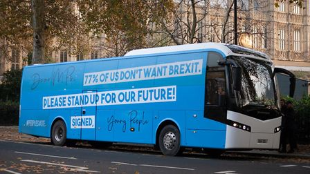 Our Future Our Choice's new battlebus is unveiled. Photograph: OFOC.