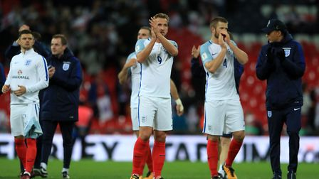 England's Harry Kane (centre) applauds fans after their win over Slovenia at Wembley (pic Adam Davy/