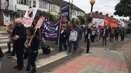 Protesters marched from Tottenham Green to Finsbury Park. Picture: JON KING