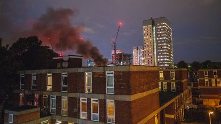 A fire broke out in St Johns Wood last night Picture: Twitter @cfaruolo