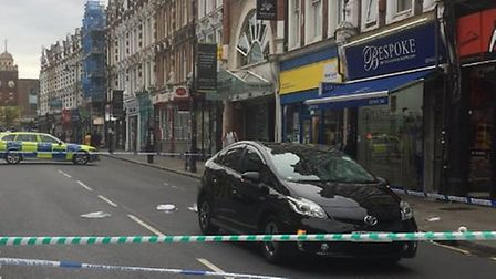 A woman was treated for a head injury following a collision in Tottenham Lane, Crouch End. Picture: