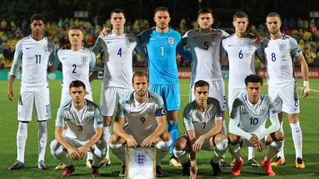 England face the camera before their match against Lithuania at the LFF Stadium in Vilnius (pic Mike
