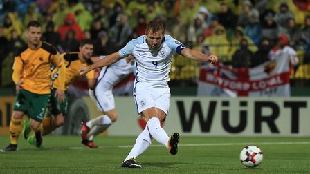 England's Harry Kane scores from the penalty spot against Lithuania (pic Mike Egerton/PA)