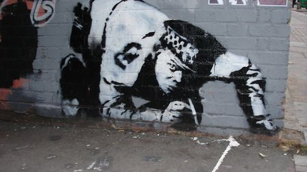 The original Banksy seen here in 2005. Picture: Global Street Art