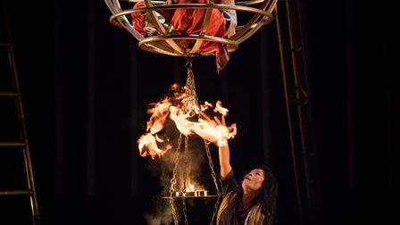 Renu Ghalan in a ball while Loan TP Hoang lights a fire. Picture: Mark Robson