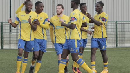 Haringey Borough players celebrate (Pic: Tony Gay)