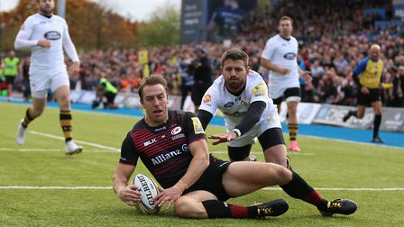 Saracens' Chris Wyles scores the opening try of the game against Wasps (pic Nigel French/PA)