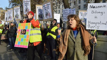 Hampstead protesters marched to Downing Street calling for the British Government to help bring Naza