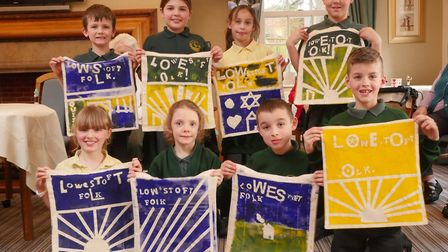 The Oulton Broad Primary School children with their Lowestoft Folk story bags, ready to start collec