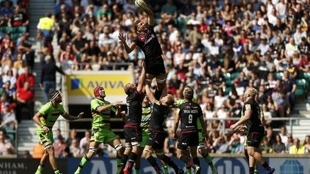 Nick Isiekwe claims a lineout for Saracens earlier this season and has signed a new deal with the Av