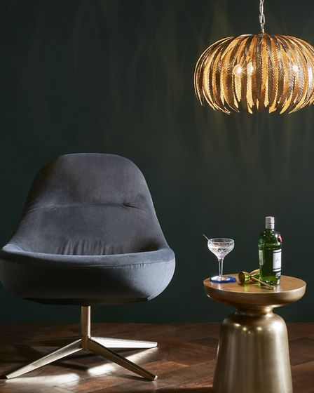 Mary Chair �899, Montserrat Ceiling Light �450, West Elm Martini Side Table �159, all John Lewis