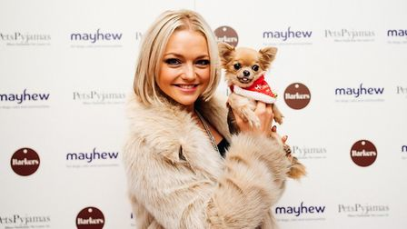 Hannah Spearritt of S Club 7 fame, with her dog Lola