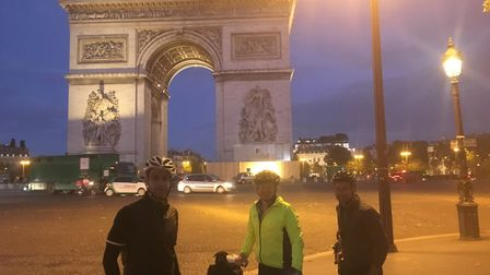 From left James Lyons, Chris Garrett and Peter Strickland at the Arc de Triomphe.