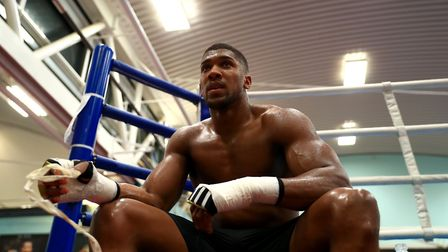 Anthony Joshua in training for his world title defence against Carlos Takam (pic: Tim Goode/PA Wire)