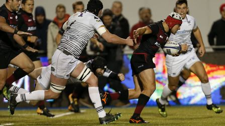 Schalk Brits scores the second try for Saracens against Ospreys (pic: Paul Harding/PA)
