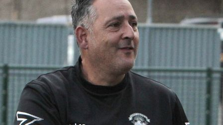 Haringey Borough boss Tom Loizou is all smiles on the touchline (pic: Tony Gay).