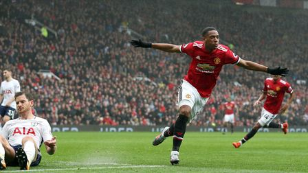 Manchester United's Anthony Martial celebrates scoring his side's first goal of the game during the