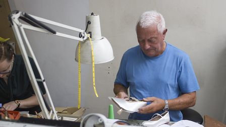 Theatrical shoe designer Jimmy at work in Freed of London's Well Street factory. Picture: Freed of L